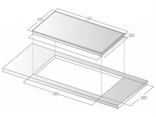 Kích thước lắp đặt bếp từ Bauer BE 26MI
