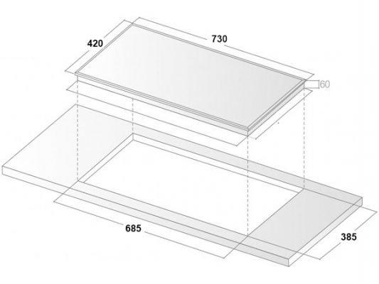 Kích thước lắp đặt bếp từ Binova BI-6699 ITALY