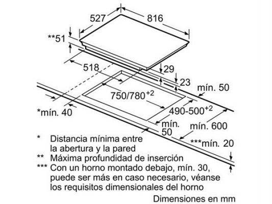 Kích thước lắp đặt 750/780mm x 490/500mm
