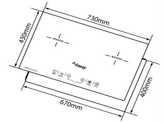 Kích thước lắp đặt bếp từ Canzy CZ-QD03