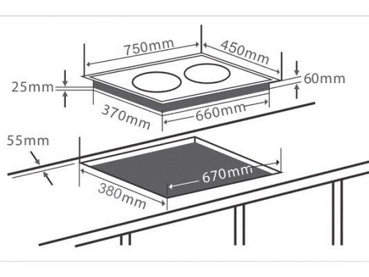 Kích thước lắp đặt bếp từ Chefs EH-DIH333