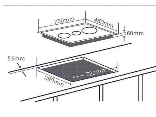 Kích thước lắp đặt bếp từ Chefs EH-IH534