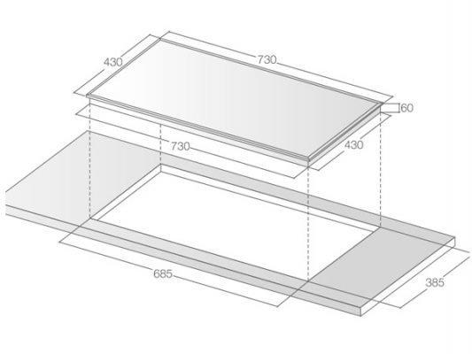 Kích thước lắp đặt bếp từ Lorca LCI 899