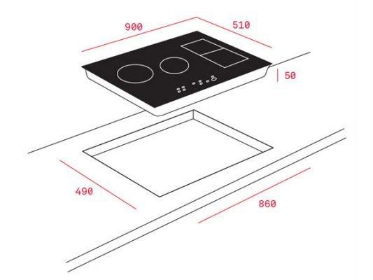 Hình ảnh kích thước lắp đặt bếp từ Teka IRF 9480 TFT