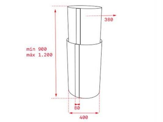 Kích thước lắp đặt máy hút mùi Teka CC485