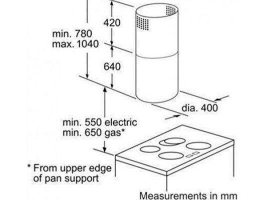 Kích thước lắp đặt máy hút mùi Bosch DIC043650