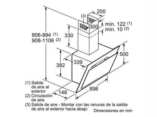 Kích thước lắp đặt máy hút mùi Bosch DWK09G660
