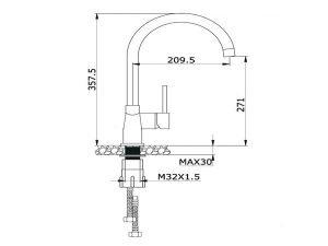 Vòi rửa bát Konox KN1203BG 3