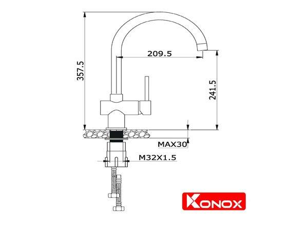 Vòi rửa bát Konox KN1206 2