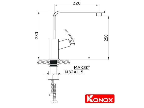 Vòi rửa bát Konox KN1208 2