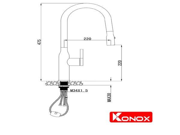 Vòi rửa bát Konox KN1225BG 2