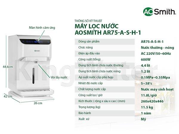 Máy lọc nước Aosmith RO AR75-A-S-H1 2
