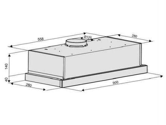 Kích thước lắp đặt máy hút mùi Nodor EXTENDER PLUS INOX 900