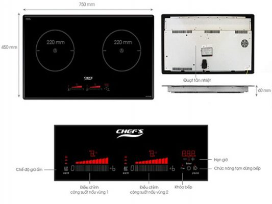 Ảnh phím điều khiển và chức năng thông dụng của bếp điện từ Chefs