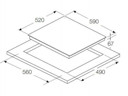 Kích thước lắp đặt bếp điện Hafele HC-R603B