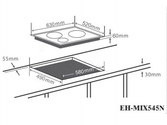 Kích thước lắp đặt bếp điện từ Chefs EH-MIX545N