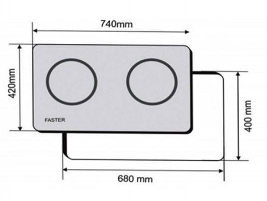 Kích thước lắp đặt bếp điện từ Faster FS 628HI