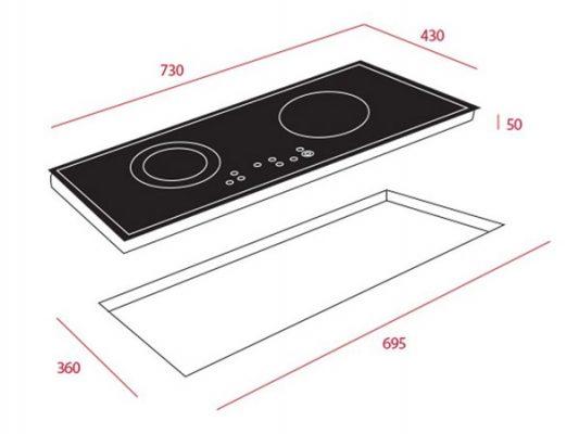 Kích thước lắp đặt bếp điện từ Teka HIC 7322S