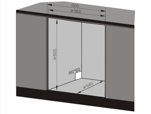 Kích thước lắp đặt âm tủ máy rửa bát Texgio TG-BI205