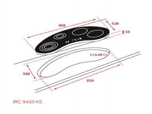 Kích thước lắp đặt bếp từ Teka IRC 9430 KS