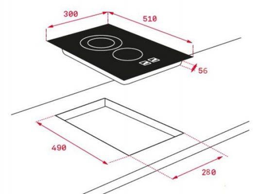 Kích thước lắp đặt bếp từ Teka IZS 34600 DMS