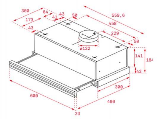 Kích thước lắp đặt máy hút mùi Teka CNL 6400