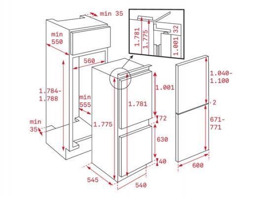 Kích thước lắp đặt tủ lạnh Teka CI3 350 NF