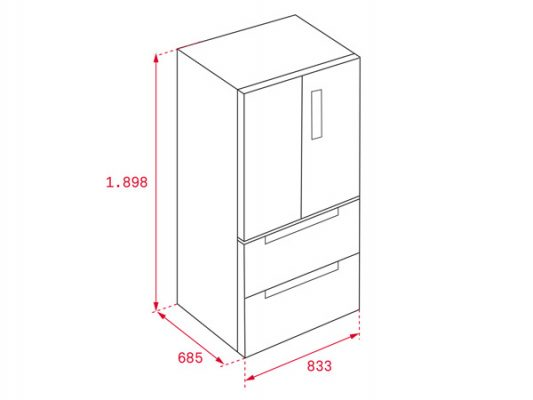Kích thước lắp đặt tủ lạnh Teka RFD 77820 GBK