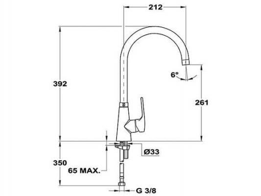 Kích thước lắp đặt vòi rửa bát Teka VITA