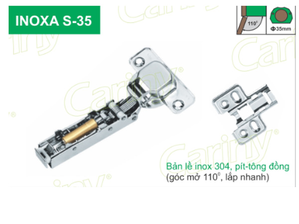Bản lề giảm chấn Cariny INOXA S-35 Inox 304