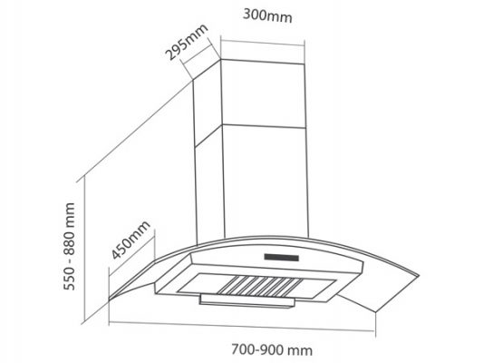 Kích thước lắp đặt máy hút mùi Eurosun EH-70K25