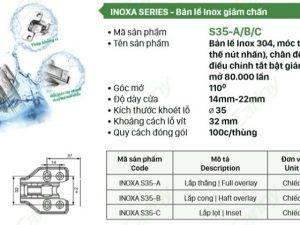 Bản lề giảm chấn Cariny INOXA S-35 Inox 304 5