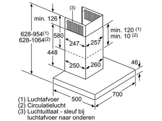 Kích thước lắp đặt máy hút mùi Bosch DWB77CM50