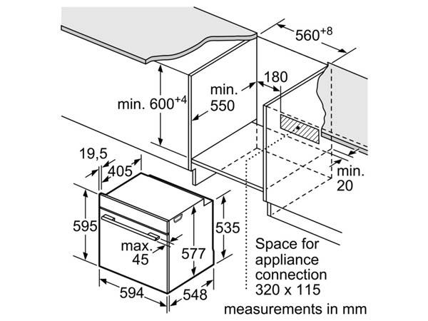Lò nướng âm tủ bếp Bosch HBG655HS1A 2