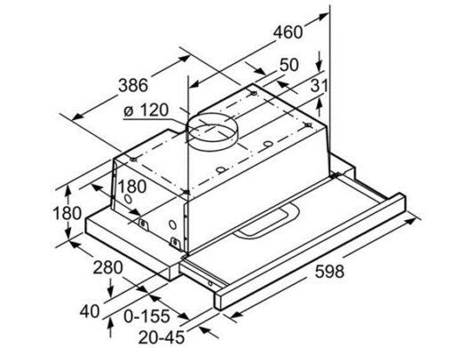 Kích thước lắp đặt máy hút mùi âm tủ Bosch DFT63AC50