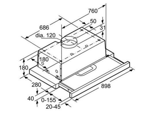Kích thước lắp đặt máy hút mùi âm tủ Bosch DHI923GSG