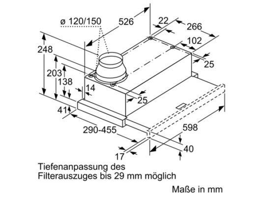 Kích thước lắp đặt máy hút mùi Bosch DFL064W53B