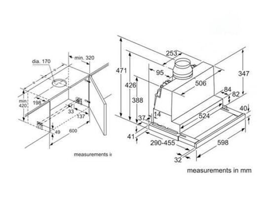 Kích thước lắp đặt máy hút mùi âm tủ toàn phần Bosch DFS067J50B