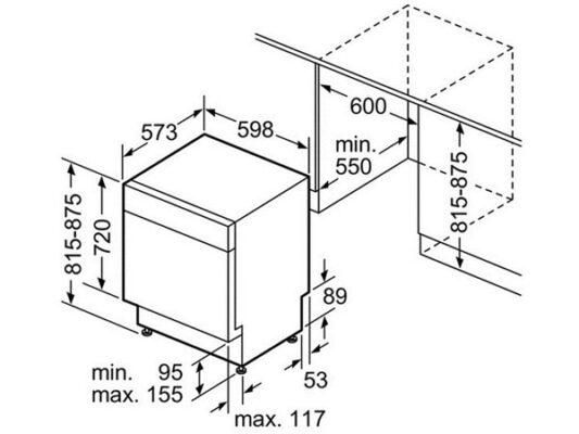 Kích thước lắp đặt máy rửa bát độc lập Bosch SMS25EI00G
